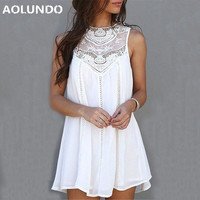 Casual Dresses For Woman 2017 Sleeveless Dresses Summer Fit Mini Beach Sexy Short White Lace Women
