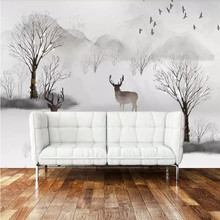 Custom wallpaper Nordic Elk Forest TV background wall decoration painting high-grade waterproof material