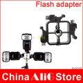 Cabeça triplo sapata flash adapter suporte de Metal suporte de montagem titular gatilho 430ex 580ex sb600 sb700 sb800 flash acessórios