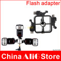 Metal triple hot shoe flash stand adapter head bracket mount trigger holder 430ex 580ex sb600 sb700 sb800 flash accessories