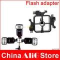 Metal triple hot shoe flash stand adapter head bracket mount trigger holder 430ex 580ex sb600 sb700 sb800 flash accessories