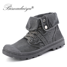 BIMUDUIYU 2019 Canvas Shoes Men Boots Leisure High Top Ankle Boots For Male Spring Autumn Boots Casual Zapatos Hombre