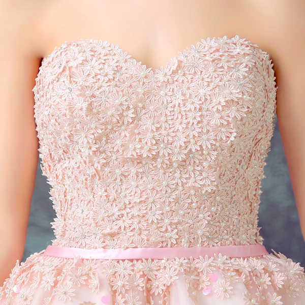 ... 100% Real Images Elegant Pink Cocktail Dresses Asymmetrical Side Long  Short Party Lace Sequin Tulle ... ad337a559c3c
