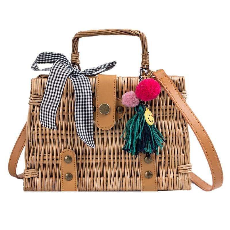 NEW-Fashion Women'S Bag Bow Woven Tassel Handbag Bamboo Series Youth Shoulder Diagonal Cross Bag Temperament Handbag Box Shape