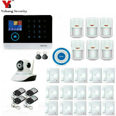 YoBang Security WiFi GSM Touch Screen Home Security Alarm,Intruder Protection Wireless IP Camera+Wireless IP Camera Smoke Alarm