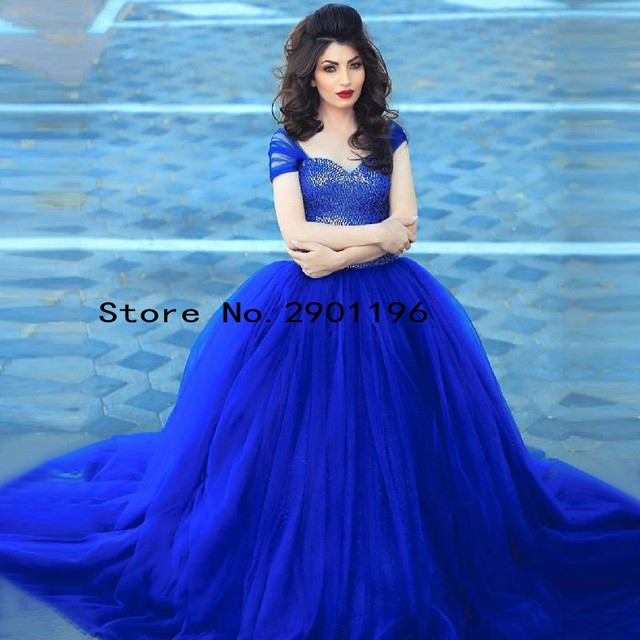 Romantic Royal Blue Prom Dresses Long Saudi Arabic Formal Evening ...