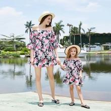 2019 Summer New Mother kids Princess Dress Floral Print