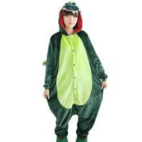Green Purple Hoodie Dinosaur Onesie For Adults Unisex Animal Pattern Pyjamas Women Sleepsuit Sleepwear Cosplay Costume