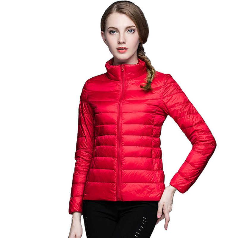 Mùa đông Nữ Cực Lông vũ 90% Vịt Xuống Cổ Áo Đứng Áo Khoác Dài Tay Ấm Slim Áo Khoác Vải Dù Nữ Portabl áo khoác ngoài