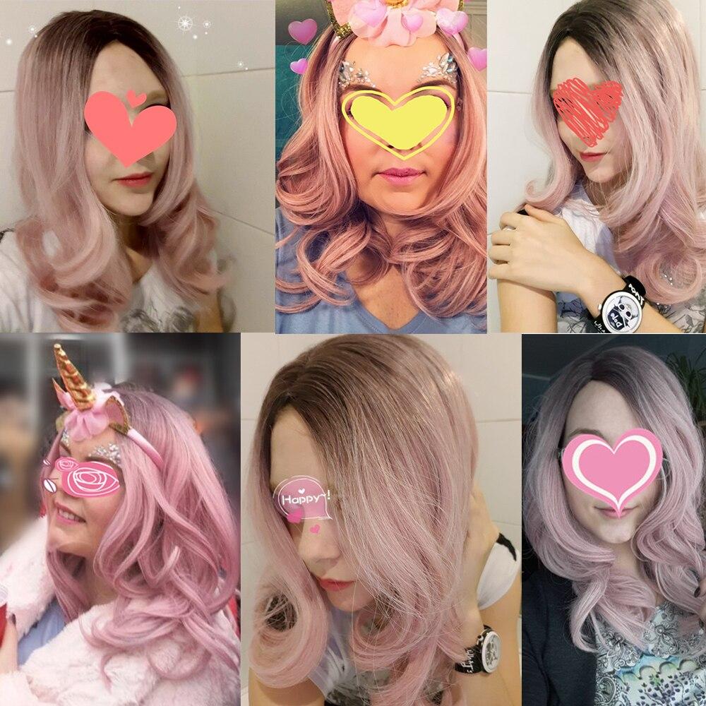 Suri Hår lång kroppsvåg ombre rosa-lila peruker 22 tums sidodel - Syntetiskt hår - Foto 6