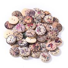 50pcs 2 Holes Retro Clock Wooden Buttons High-rech Painted Mini For Sewing Accessory