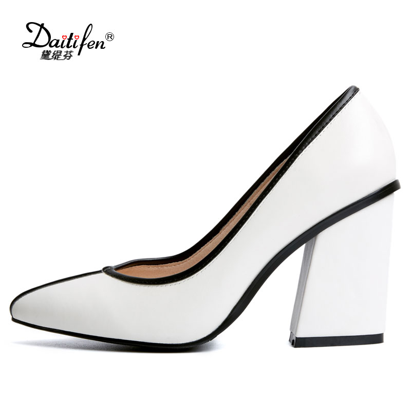 Daitifen Genuine leather Womens shoes high heel pumps women Work shoes 2018 NEW thick heel square toe shoes woman high heels the new puma womens shoes classic high classic star high tongue series white leather laser badminton shoes