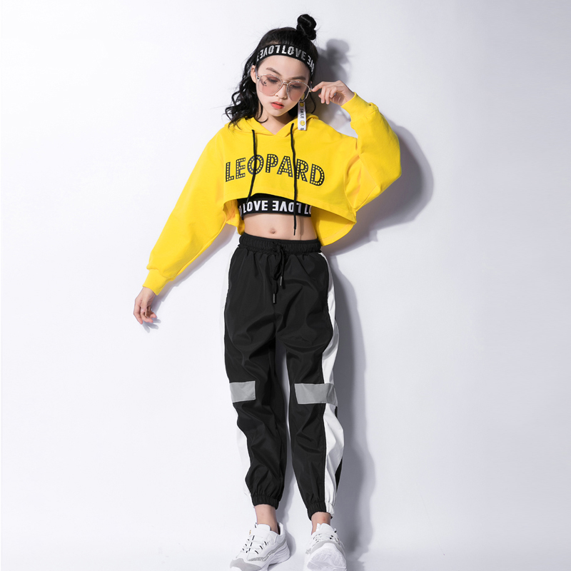 Jazz Dance Costumes Hip Hop Kids Long Sleeve Hooded Top Vest Pants Girls Hiphop Clothes Street Dance Stage Show Wear DNV10416