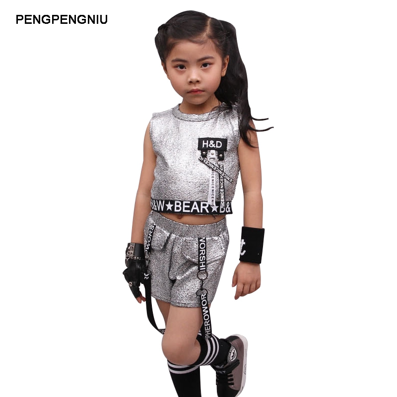 PENGPENGNIU Hip Hop Clothing Girl Summer 2018 New Arrival Kids Street Dance Clothes Sets Teenage Girls Jazz Dance Clothing Set
