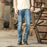 Bierelinnt 2017 New Autumn Winter Elastic Washed Straight Slim Fit Jeans Men Cotton Denim Good Quality