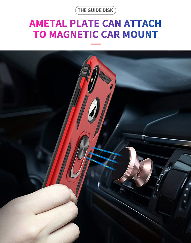 For iPhone se case Armor Shockproof Case Car Holder Grip Ring Case for iphone 7 8 6 6S Plus 5 5s iPhone X XR XS MAX in Fitted Cases from Cellphones Telecommunications