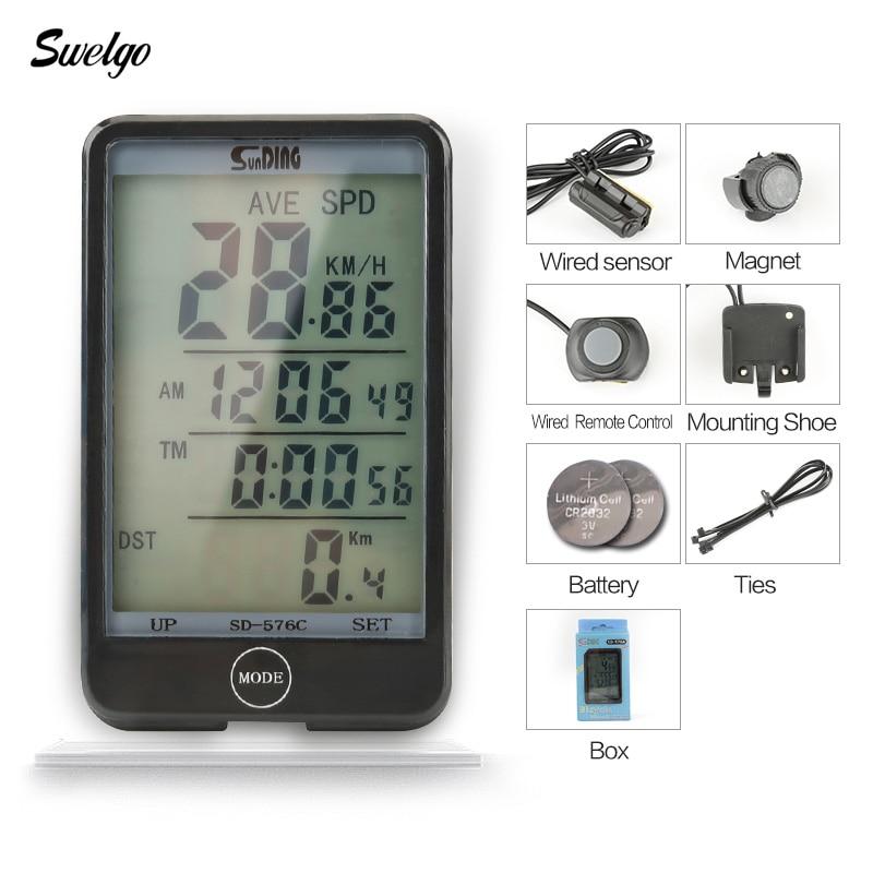 Swelgo Wireless Bike Computer Speedometer Odometer Rainproof Cycling Bicycle Computer Bi ...