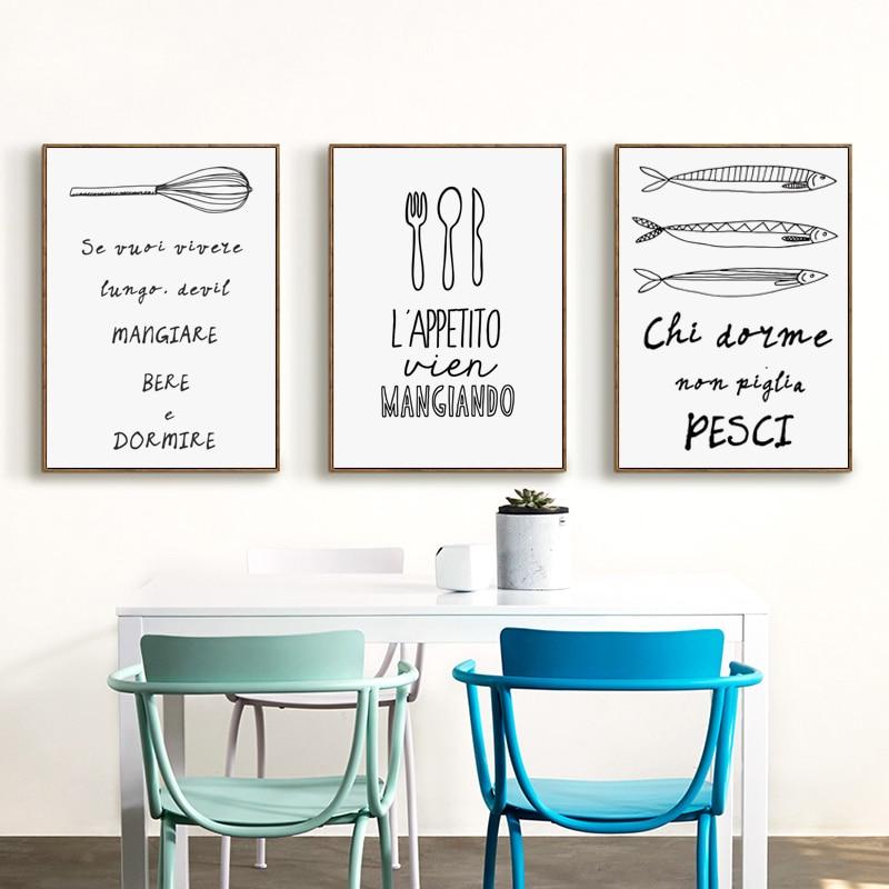 Dinding Hitam Dan Putih Peralatan Makan Dapur Makanan Frase Bianche A4 Kanvas Lukisan Art Print Poster Gambar Hotel Dekorasi Di Painting Calligraphy Dari