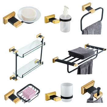 Solid Brass Bathroom Accessories Set Toilet Brush Holder Black Gold Bathroom Hardware Pendant Towel Rack Wall Mounted Soap Dish free shipping solid brass orb oil rubbed bronze bath form bathroom holder soap dishes wall mounted holder rack