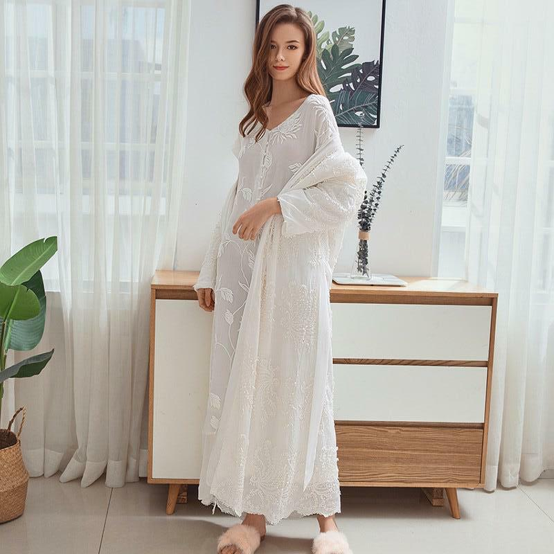 Winter Long Robe Sleepwear Flannel Robes Warm Homewear Nightgown Female Embroidered Robe Two-piece Suit High Quality