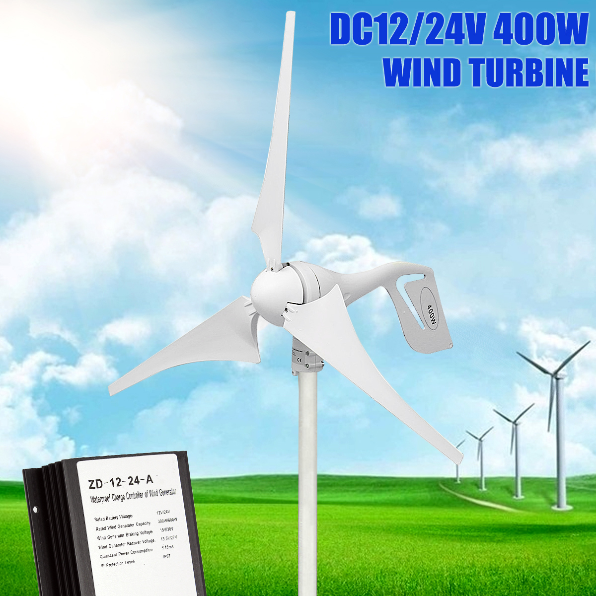 800/MINRPM 400 W turbina de viento generador DC 12 V/24 V 3 hoja con regulador de carga impermeable blanco