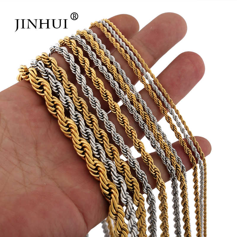 Jin Hui African fashion Men Silver Gold color Necklaces length 45 50 60cm  Women give boy friends Jewelry Birthday Necklace Gift