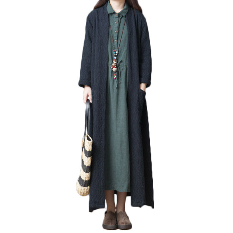 Retro Fashion Comfortable Cotton Linen   Trench   Coat Women Long Section Casual Loose Cardigans Long Sleeve Spring Outerwear f1011