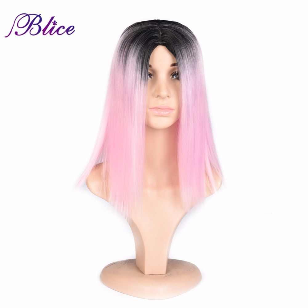Blice peruka syntetyczna krótkie proste importowane wysokiej temperatury włókna Ombre kolor # T1B/różowy peruka dla afroamerykanów kobiet