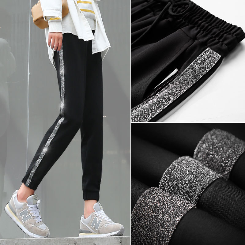 Fashion Side Stripe Women Harem Pants 2018 Autumn Winter New Arrival Hot Female Loose Casual Solid Color Classic Pants Trousers
