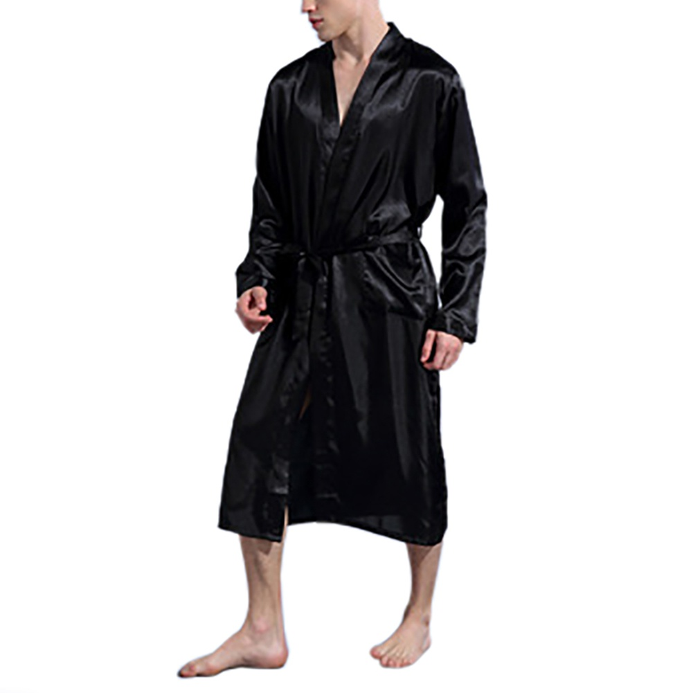 Men's Silk Satin Bathrobe Robe Long Solid Silk Pajamas Men Silk Nightgown Sleepwear Kimono Homme Dressing Gown
