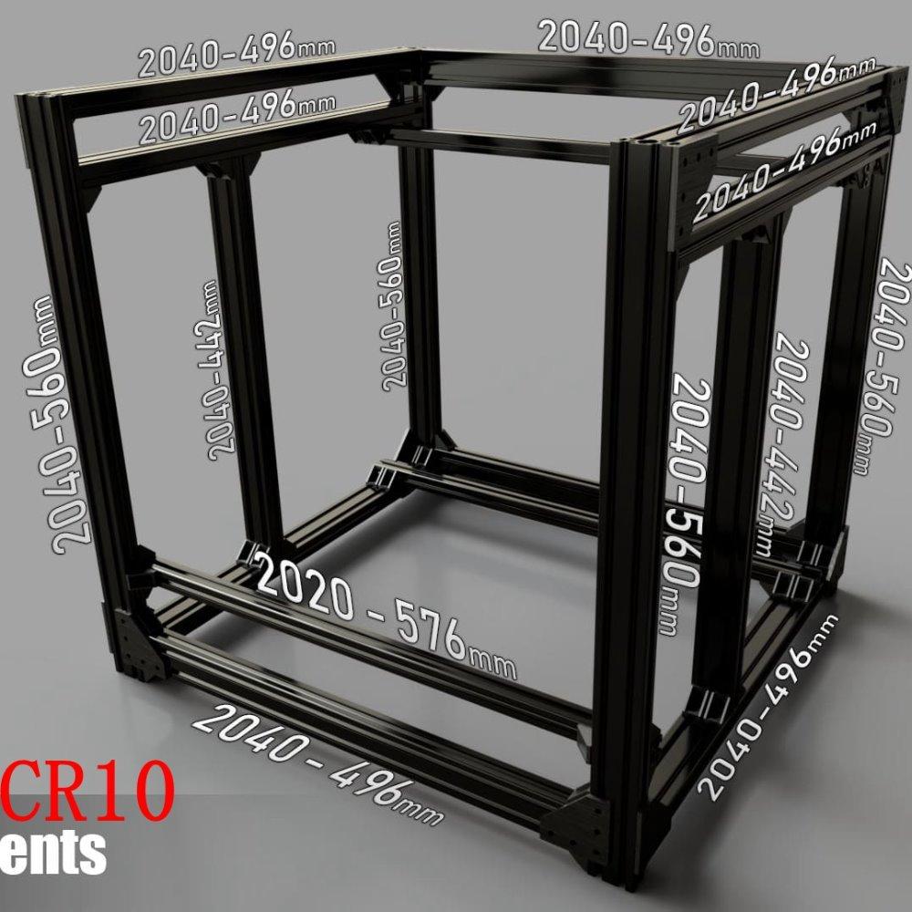 Kit de cadre et matériel en aluminium noir d'extrusion BLV mgn Cube pour bricolage CR10 imprimante 3D Z hauteur 365 MM