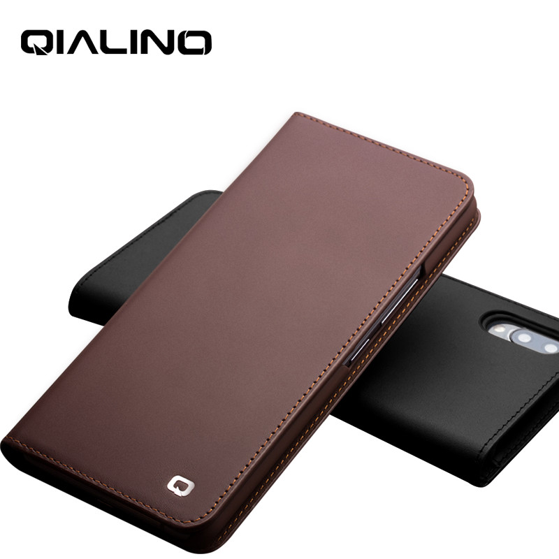 QIALINO Genuine Leather Protective Cover for Vivo NEX 6.59 inch Pure Handmade Luxury Flip Case with Card Slots for Vivo NEX