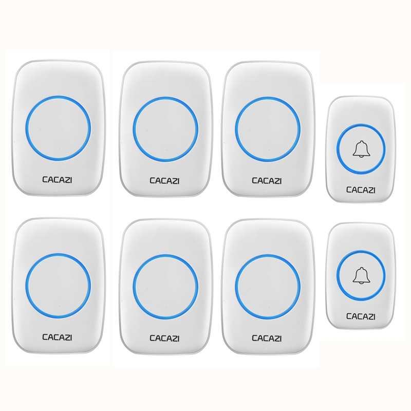CACAZI Wireless Doorbell Waterproof 2 Battery Button 6 LED Light Receiver Home Cordless Bell 300M Remote 38 Chimes 4 Volume cacazi wireless doorbell waterproof 2 battery buttons 1 receiver 300m remote led light home cordless bell 36 chimes 4 volume