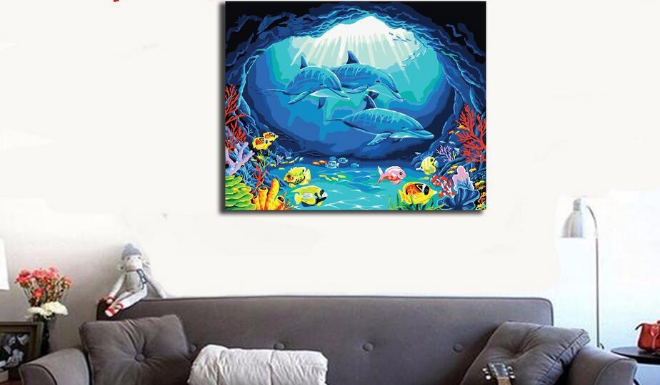 Diy Lukisan Minyak Dengan Angka Kanvas Gambar Dunia Bawah Laut Hewan