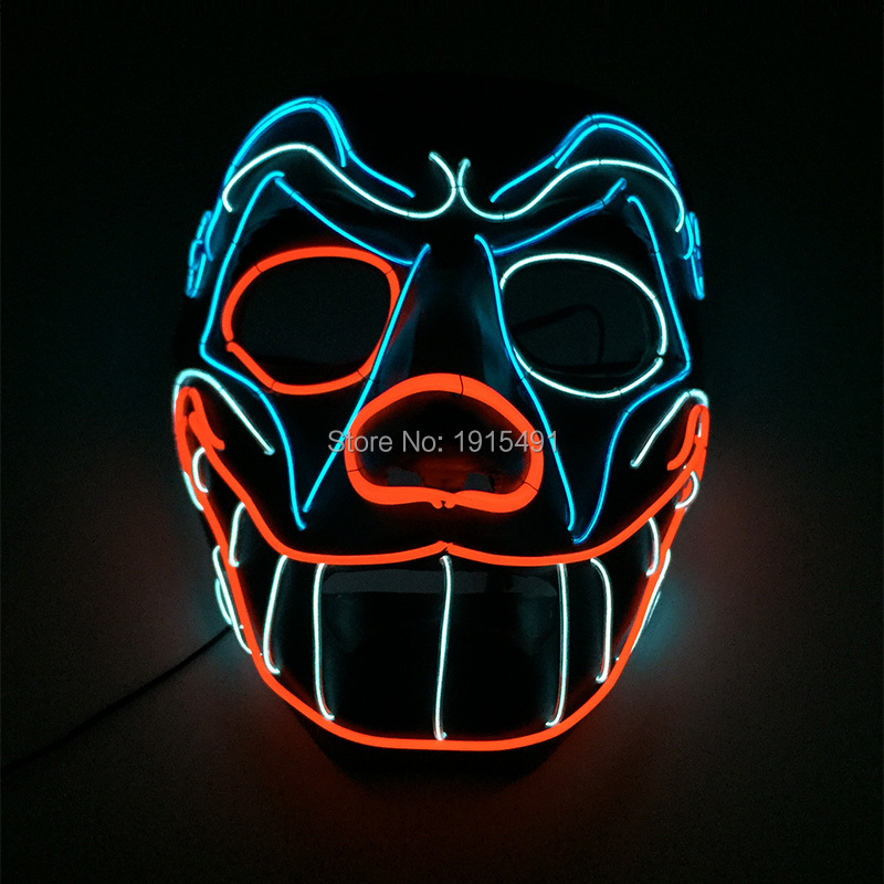 Mysterious Light Up Blink Grinning Doggie Mask New Year Anniversary Favor Neon Led Thread Happy Mask As Bar Night Holiday Lights