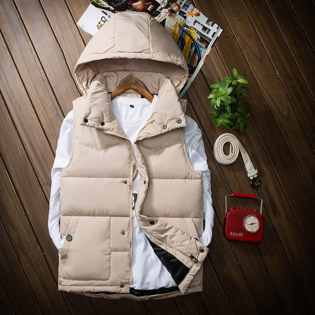 Vest male autumn and winter lovers down cotton vest with a hood wadded jacket male vest outerwear slim Down cotton Vest