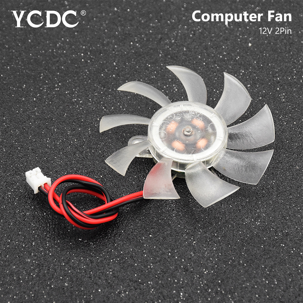 Transparent 12V 2 Pin 9 Blades PC VGA Video Graphics Card Heatsink Cooler Cooling Fan 55 X 10 Mm Computer Replacement Fans