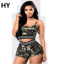 Camouflage 2017 Two Piece Set Work Suits Sexy Sleeveless Sweats&Suits Cropped Survetement Femme Military Women 2 PC Pants Sets