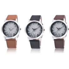 2017 OKTIME Fashion Flower Leather Analog Quartz Vogue Wrist Watch relogio feminino Dropshipping