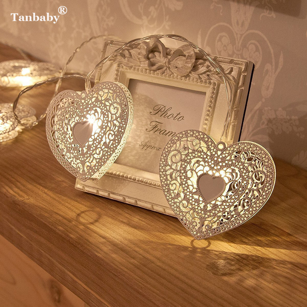 Tanbaby Hollow Love Heart LED String Light AA Battery Powered For Valentine's Day  XMAS Wedding Party Fairy Lights Bedroom Deco