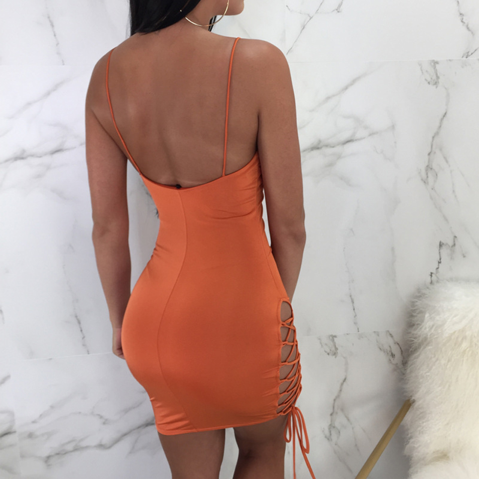 Karlofea Summer Fashion Sexy Club Mini Dress Cross V Neck Short Sundress Wrap Bandage New Party Orange Bodycon Dresses For Women