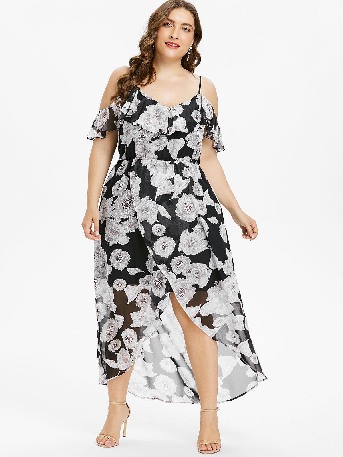 Wipalo Plus Size 5XL Floral Cold Shoulder Maxi Dress Women ...