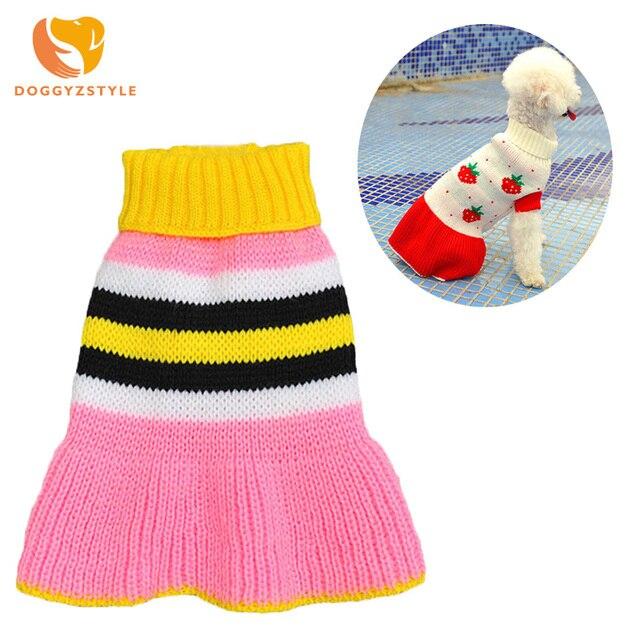 Nueva ropa para mascotas para Teddy Bichon princesa vestido cachorro perro gato suéter tejido cálido otoño e invierno ropa rojo rosa DOGGYZSTYLE