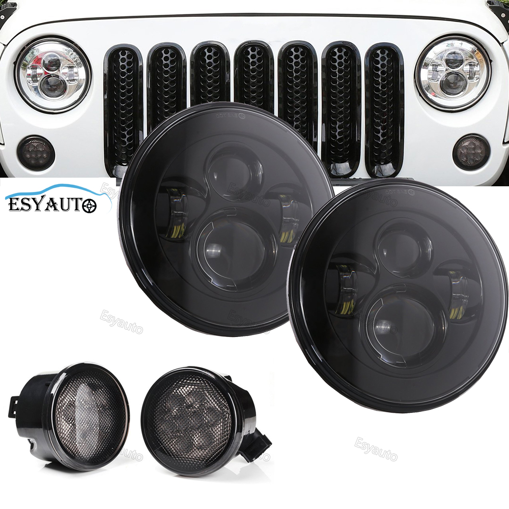 7 LED Headlights Round 40W classic Hi/Lo Beam 7 Inch + Front Fender Grill Turn Signal Lights for Jeep Wrangler JK TJ LJ(4 pcs)