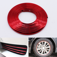 4M/8M Car Styling Red Bumper Moulding Trim Strip Wheel Hub Protection Adhesive Grille Impact Decorative Accessories
