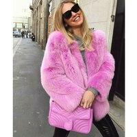 Женское меховое пальто 2018 осень зима Chiara Ferragni Furry розовый искусственный мех Тедди длинное пальто пушистая куртка Женские топы