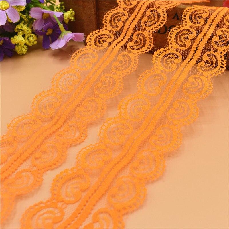 Новый 10 ярдов красивый оранжевый кружево, лента, тесьма 45 мм кружевная бейка ткань своими руками, вышитое Тюлевое кружева для шитья украшение кружевная ткань