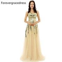 Forevergracedress Original Pictures Unique Gold Color Prom Dress Sweetheart Tulle Sequins Long Formal Party Dress Plus
