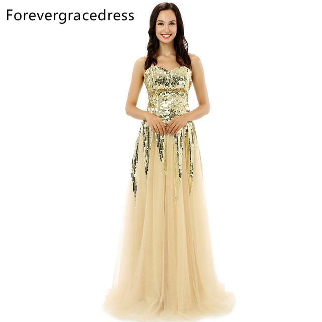 8bed3955209 Forevergracedress Original Pictures Unique Gold Color Prom Dress Sweetheart  Tulle Sequins Long Formal Party Gown Plus