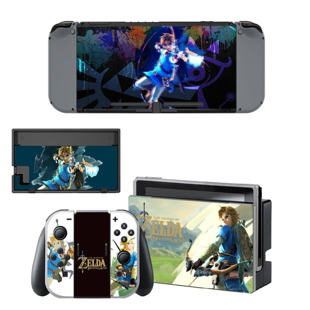 The Legend of Zelda Decal Vinyl Skin Protector Sticker for Nintendo Switch NS Console +Controller + Stand Holder Protective Skin